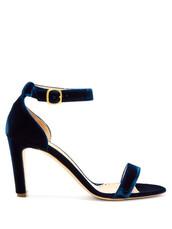 heel,velvet sandals,sandals,navy,velvet,shoes