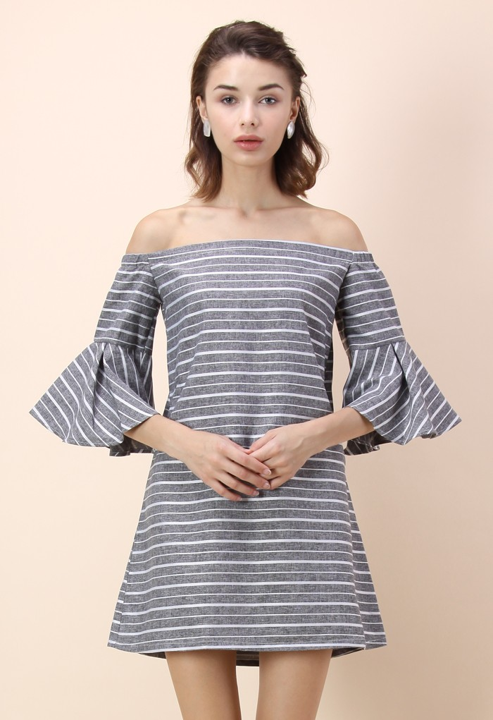 Grey Striped Off-shoulder Dress with Bell Sleeves - Retro, Indie and Unique Fashion