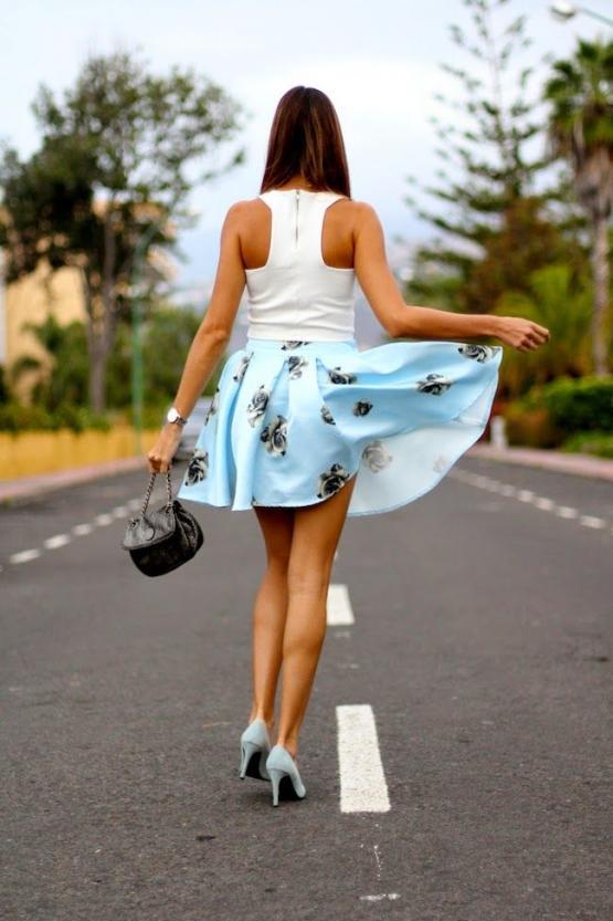 Baby blue and white flower skirt