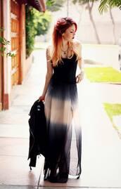 lehappy,ombre dress,slit dress,maxi dress,dress,luanna perez,le happy,black dress
