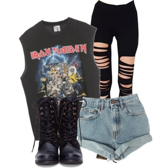 denim shirt shorts t-shirt black tee iron maiden band band t-shirt tank top black jeans iron maiden singlet band tee combat boots black combat boots band merch pants