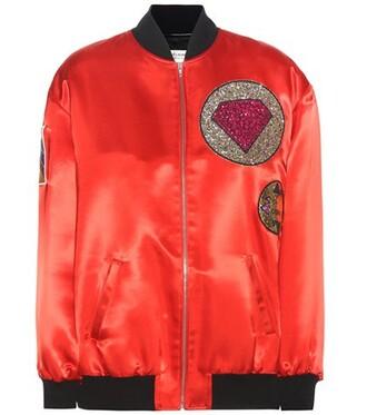 jacket bomber jacket satin bomber satin red