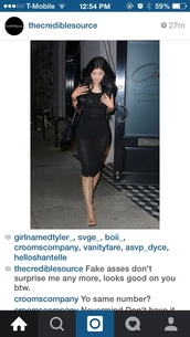 dress,kylie jenner,black dress,midi dress