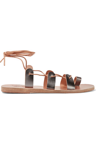 metallic sandals leather sandals lace leather silver shoes