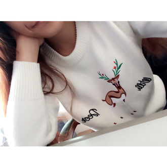 sweater it girl shop winter sweater kawaii christmas girly cute deer streetwear girl