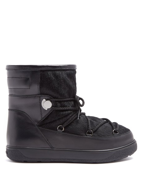 moncler hair new leather black shoes