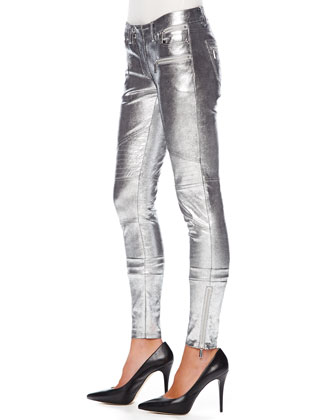 MICHAEL Michael Kors  Metallic Leather Moto Pants - Michael Kors