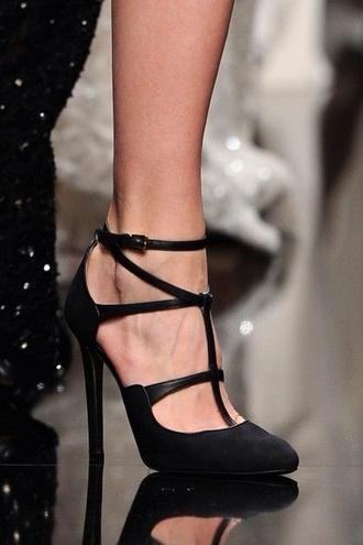 high heels black stilettos runway