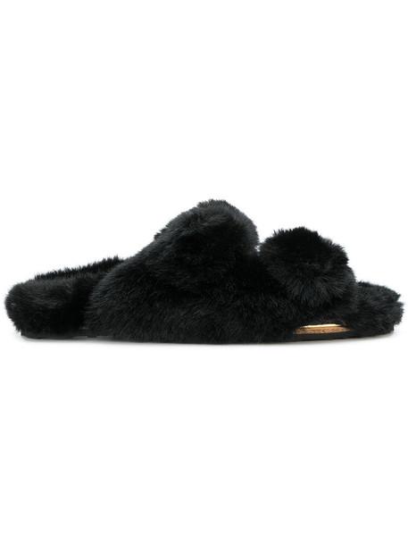 fur women sandals black shoes