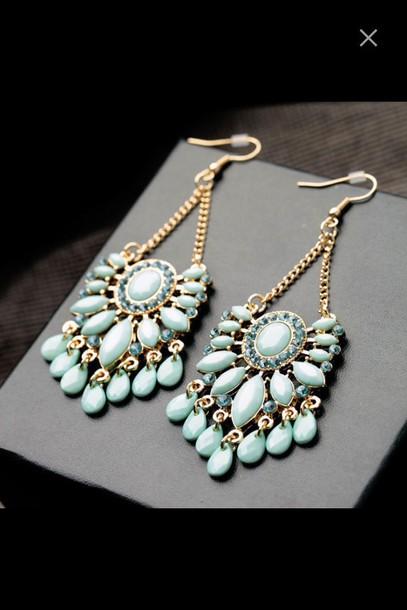 jewels earrings blue sea blue big earrings blue earings jewelry