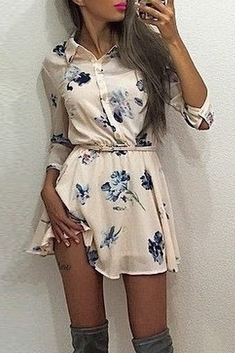 dress floral trendy blouse dress flowers white floral print shirt neck long sleeve dress long sleeves casual cool