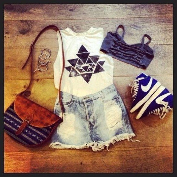 triangle t-shirt tank top shorts