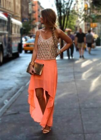 shoes skirt girly tank top braid top maxi skirt embellished orange skirt orange maxi skirt jewrelly