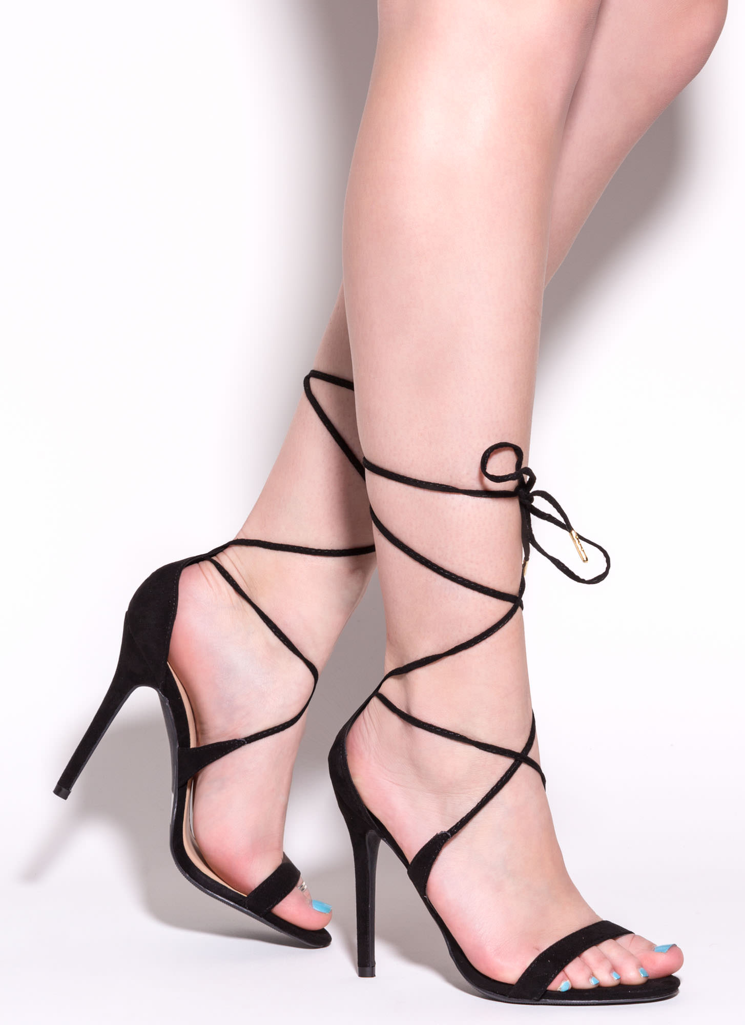 ee3587cb42e Tied For First Strappy Faux Suede Heels BLACK NATURAL - GoJane.com