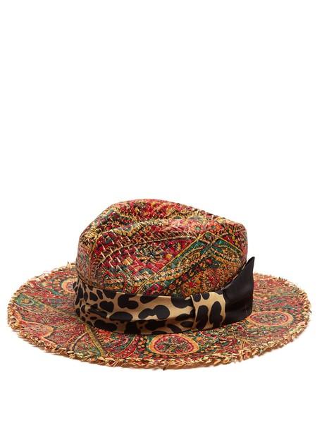 ETRO Graphic paisley-print raffia hat in multi
