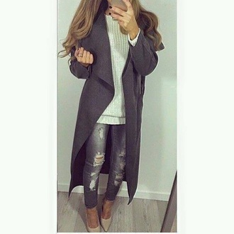 coat grey long pretty