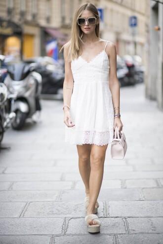 the blonde salad blogger dress bag shoes sunglasses white dress dior bag miu miu saint laurent