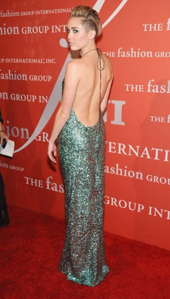 dress, green, blue, miley cyrus, prom dress, open back, sequins ...