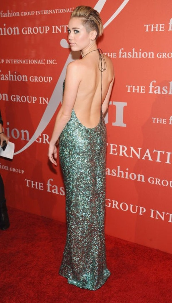 dress green blue miley cyrus prom dress open back sequins