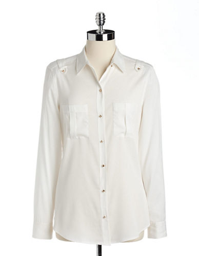 Women's Clothing | Collared & Button Down | Utility Crepe Blouse | Lord and Taylor
