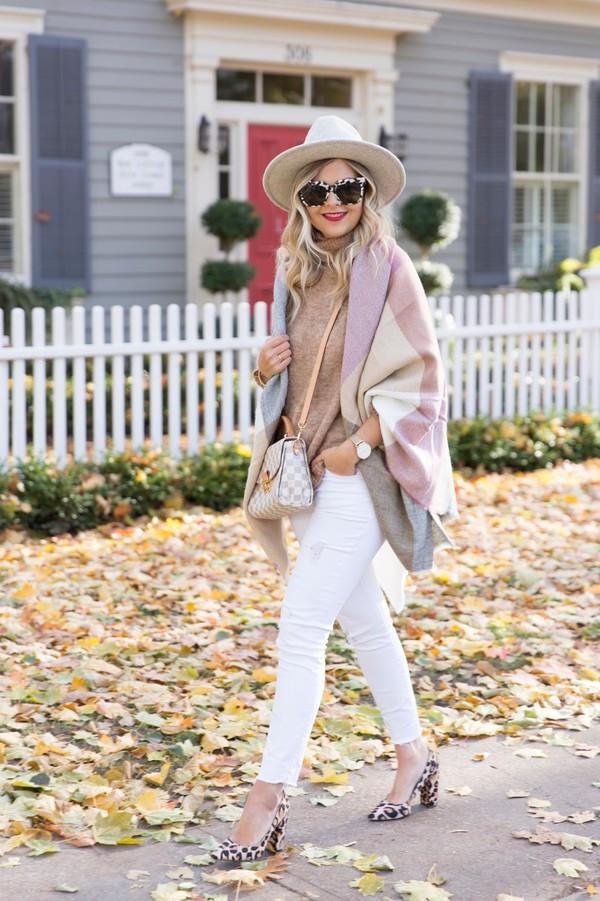 suburban faux-pas blogger hat sweater jeans scarf sunglasses jewels shoes bag fall outfits pumps white pants louis vuitton bag