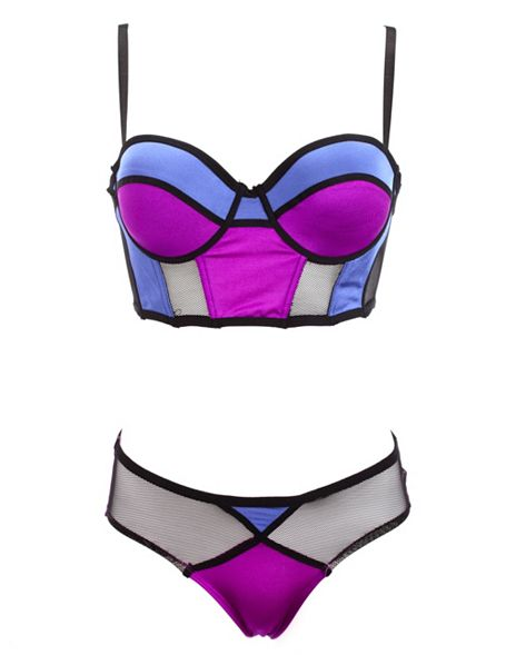 62acfeedf4 Mesh & Color Block Bra & Panty Set: Charlotte Russe