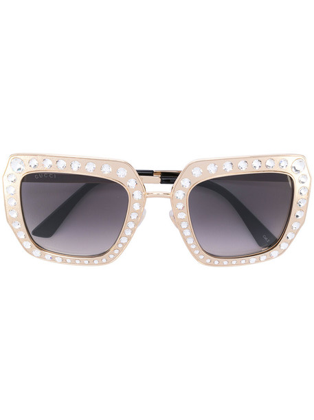 Gucci Eyewear - stoned detail gradient sunglasses - women - Acetate/Swarovski Crystal/metal - 52, Grey, Acetate/Swarovski Crystal/metal in metallic