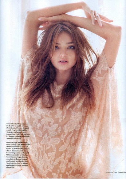 miranda kerr blouse model pink light lace pretty