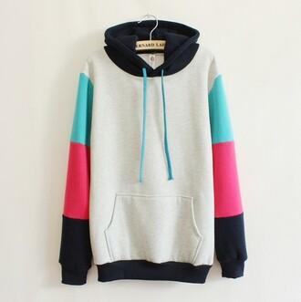 hoodie streetwear cyan pink colorblock bernard lafond