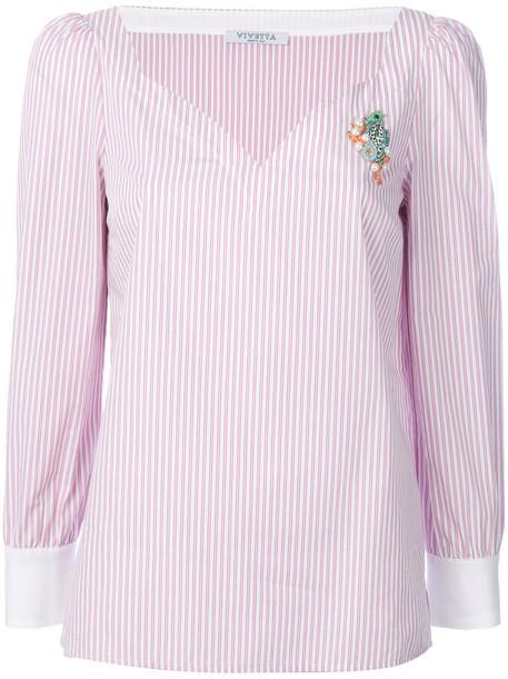 VIVETTA blouse women spandex cotton purple pink top