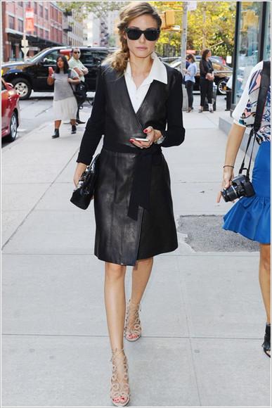 olivia palermo shoes dress fashion week 2014 sunglasses streetstyle wrap dress leather bag