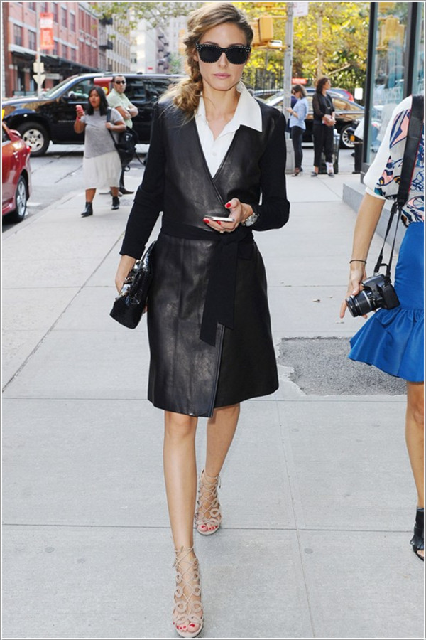 dress wrap dress leather fashion week 2014 streetstyle olivia palermo sunglasses bag shoes