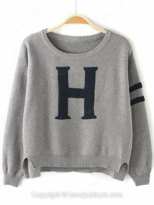 Grey Round Neck Long Sleeve H Pattern Sweater - HandpickLook.com