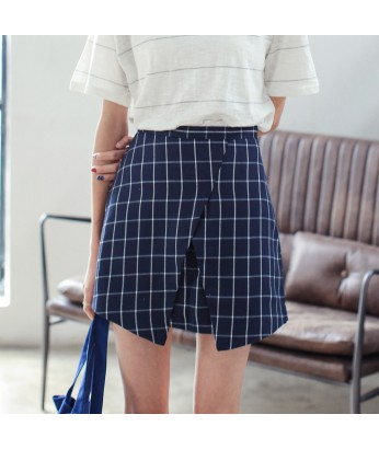 grid high waist asymmetric skirt