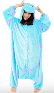 pajamas,purple and blue,onesie,monsters inc,blue,cute