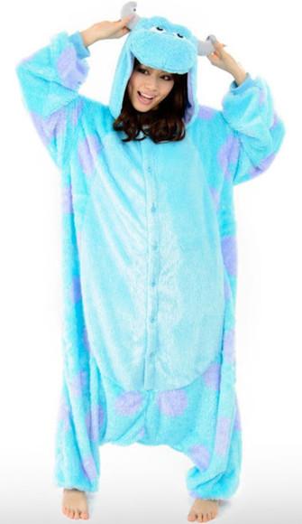 pajamas blue and purple onesie monsters inc blue cute