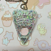 jewels,pastel,goth,pendant,drippy,handmade,societyincrisis,pastel goth,pink,ouija board,ouijaboard dress,spooky