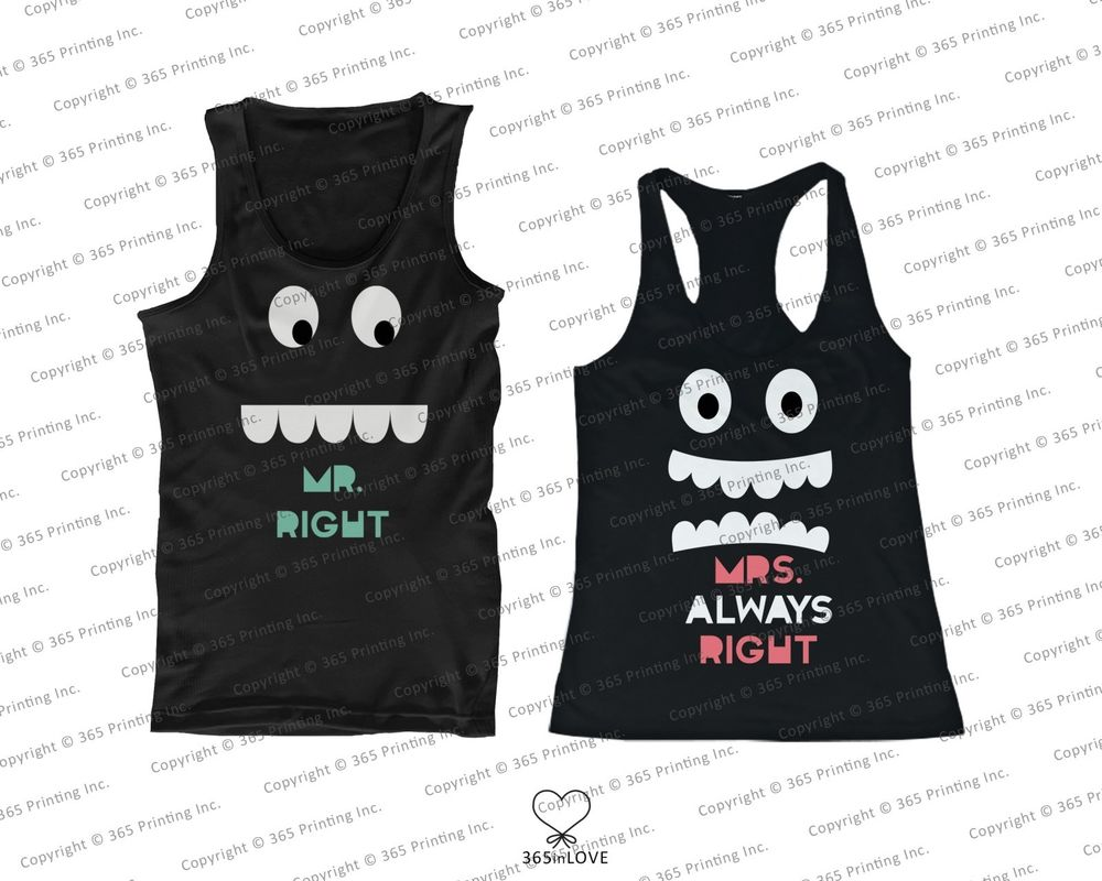 His and Her Matching Tank Tops for Couples Mr Right and Mrs Always Right | eBay