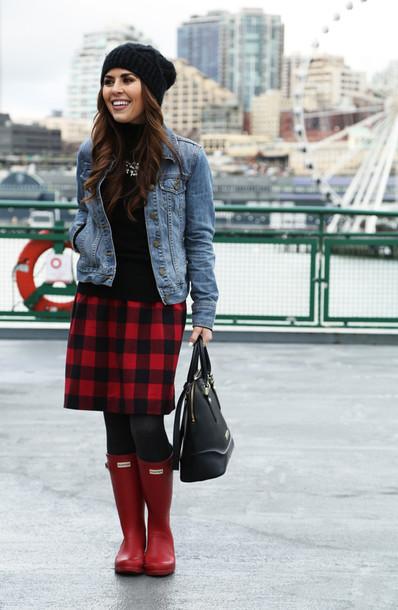 dress corilynn blogger skirt wellies flannel denim jacket handbag sweater shoes hat tights jewels jacket bag