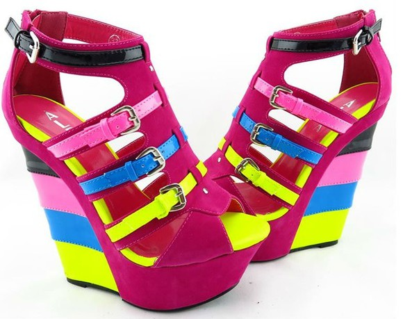neon pink shoes high heels sandals pumps platform yellow
