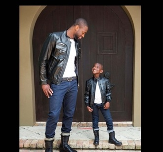 jacket guys kids fashion kids leather leather jacket daddy & me daddy and son daddy and son fashion jeans combat boots dwayne wade kids fashion menswear love