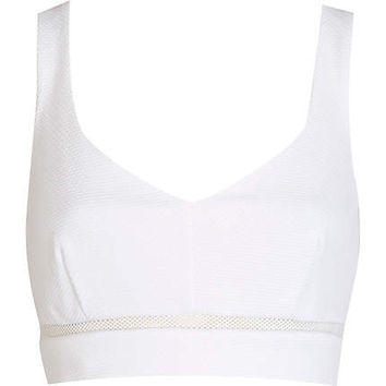 White textured mesh insert bralet - tops - sale - women on Wanelo