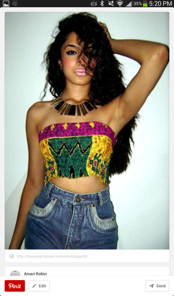 shirt tribal colorful jewels crop tops swag urban girly