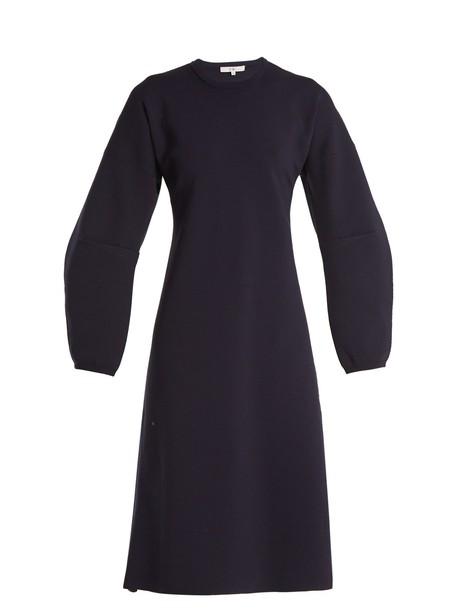 Tibi dress wool knit navy