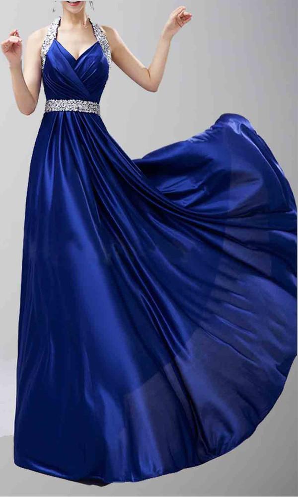 blue dress halter neck sequin prom dress long prom dress long formal dress evening dress v neck dress