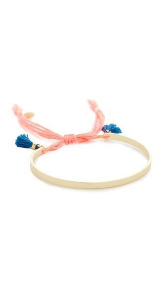 cuff tassel cuff bracelet pink jewels