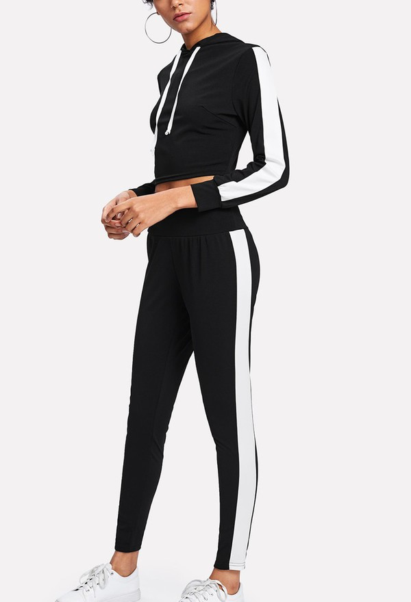 jumpsuit girly black black and white two-piece crop tops crop cropped joggers matching set