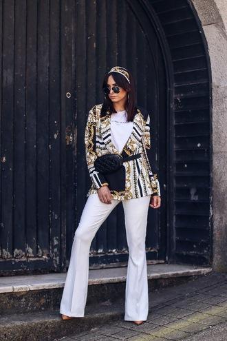 pants white pants wide-leg pants jacket blazer topw white top bag belt bag head scarf sunglasses