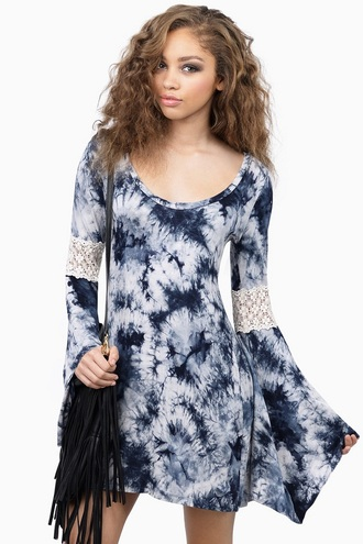 dress cute blue tie dye tie dye dress long sleeves long sleeve dress boho red lime sunday