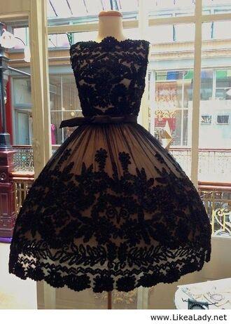 lace dress vintage little black dress vintage dress vintage dress vintage black 50s style 50s dress vintage black and cream bohrmi an dress